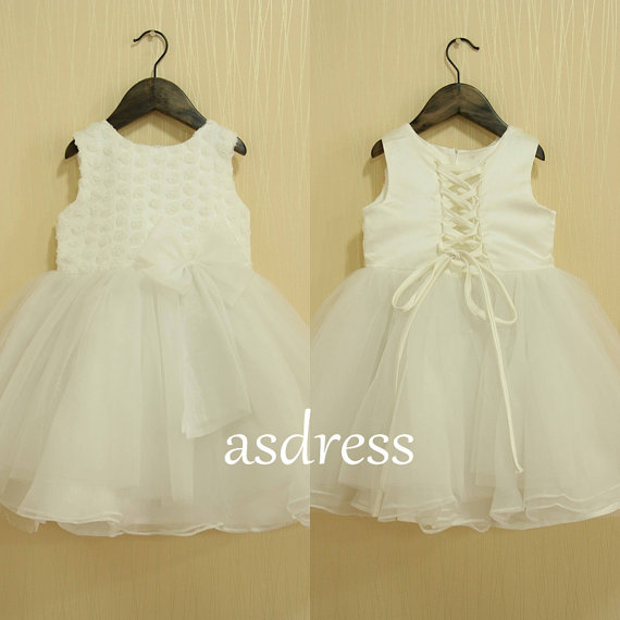 New Simple Ivory Flower Girl Dresses - flower girl dress with Big Bow- Sleeveless Organza 34b37d43a65b
