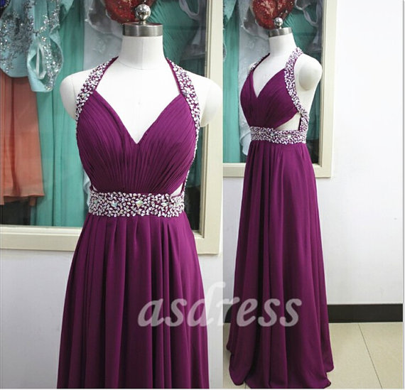 Grape Purple Bridesmaid Dresses Homecoming Halter Prom Evening Party Dress Beaded Sequins Long Chiffon Ballgown Tail Pageant